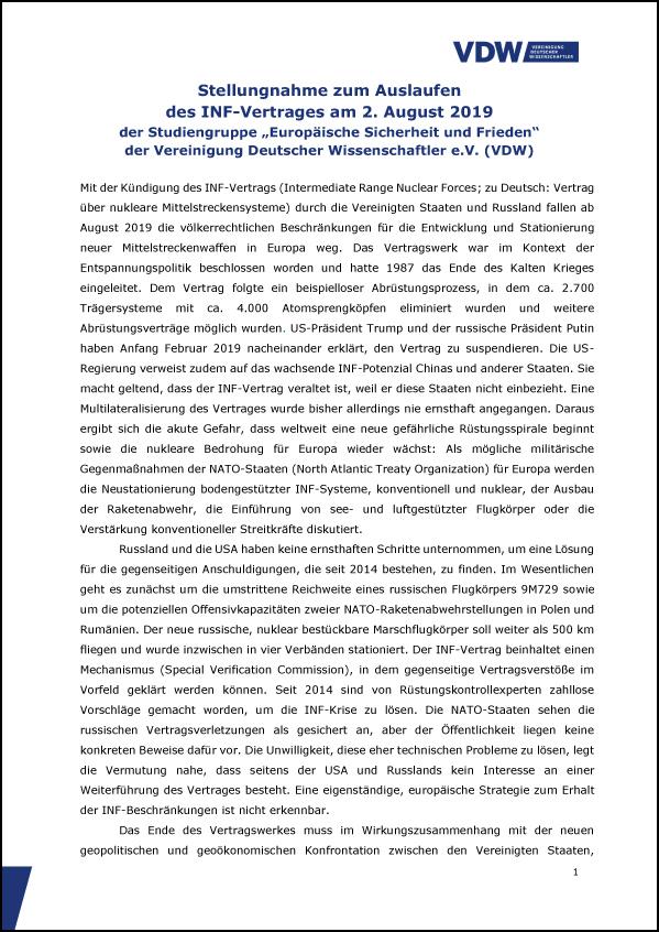 VDW Stellungnahme Zum Ende des INF Vertrags T